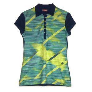 Women's Grand Slam Polo Golf Shirt - Blue/Yellow
